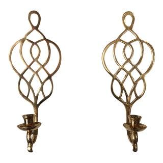 Celtic Design Brass Sconces - A Pair