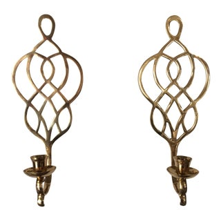 Celtic Design Brass Sconces - A Pair