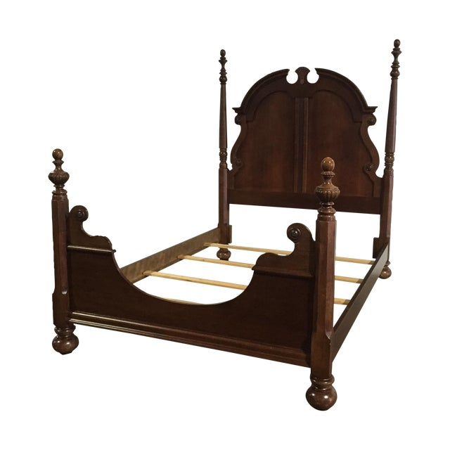 Queen Anne Solid Walnut Queen/Full Bed Frame - Image 1 of 8