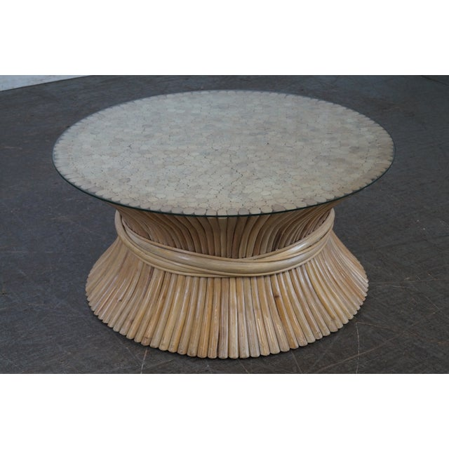 Round Wicker Coffee Table Glass Top: McGuire Style Rattan Wheat Sheaf Round Glass Top Coffee