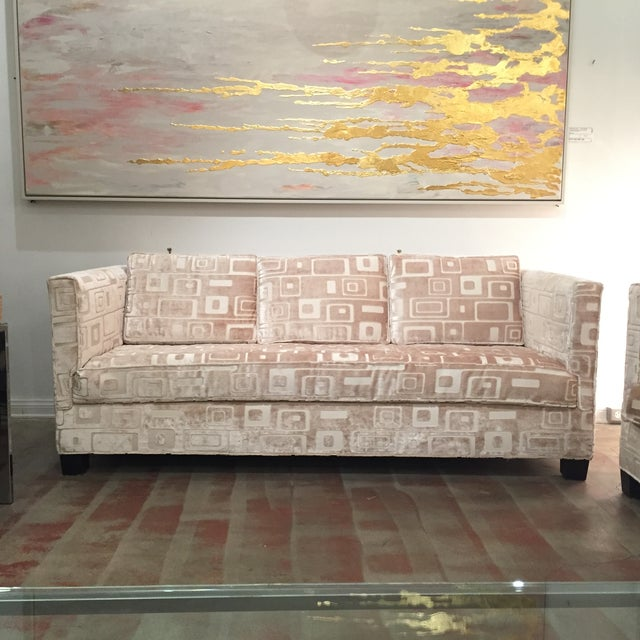 Custom Mid Century Sofa in Champagne Velvet - Image 2 of 11