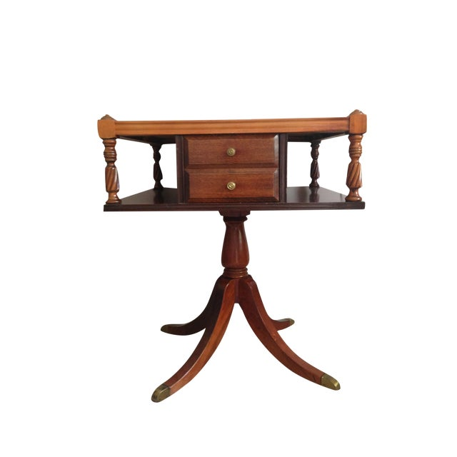Drexel Mahogany and Leather Side Table - Image 1 of 4