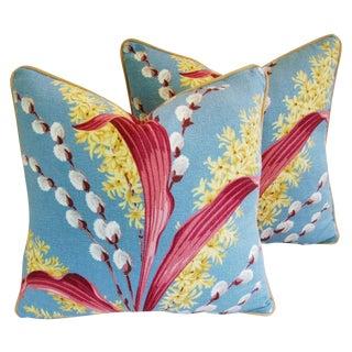 Vintage Tropical Floral Barkcloth Pillows - a Pair