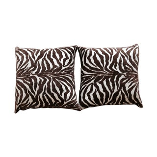 Chocolate Zebra Stripe Velvet Pillows - A Pair