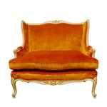 Image of French Louis XV Velvet Wingback Settee