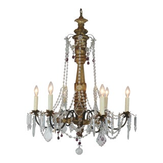 Vintage Wood & Crystal Chandelier