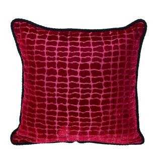 "Scalamandré Red ""Coccodrillo"" Silk Velvet Pillow"