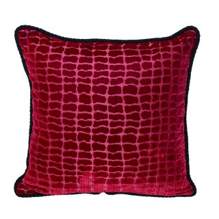 "Scalamandré Red ""Coccodrillo"" Silk Velvet Pillow"