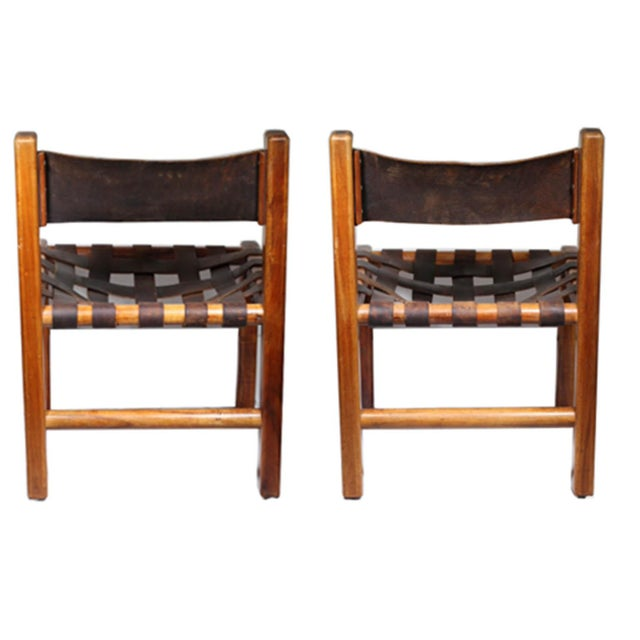 Image of 1950s Studio Craftsman Leather Chairs - A Pair