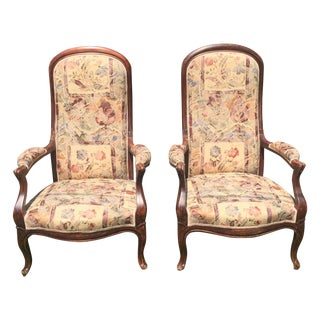 Vintage Victorian High Back Parlor Chairs - A Pair