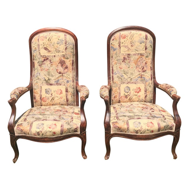 Vintage Victorian High Back Parlor Chairs - A Pair - Image 1 of 11