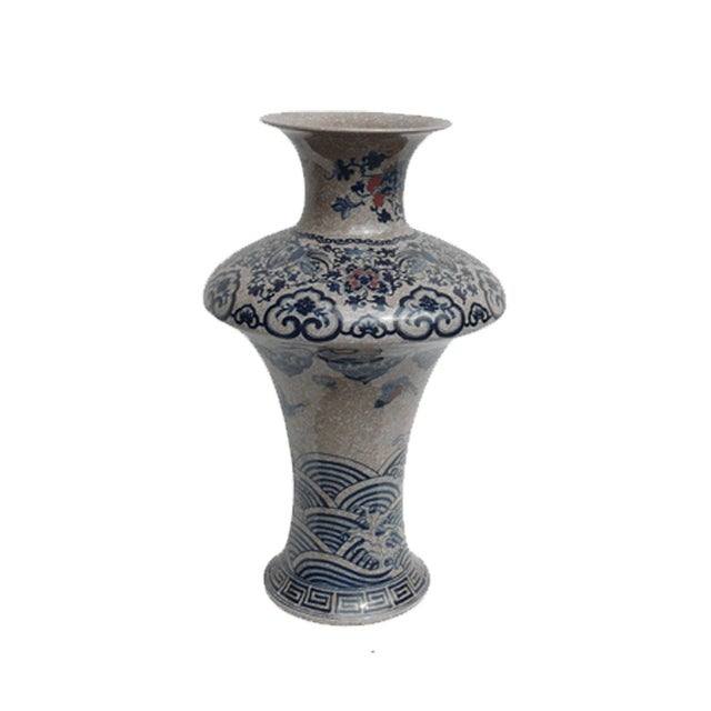 Chinese Asian Crackle Base Blue Red Porcelain Vase - Image 1 of 6