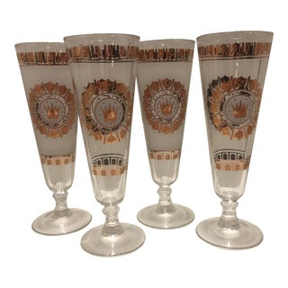 Vintage Georges Briard Mid-Century White Frosted Gold Pilsner Beer Glasses- Set of 4