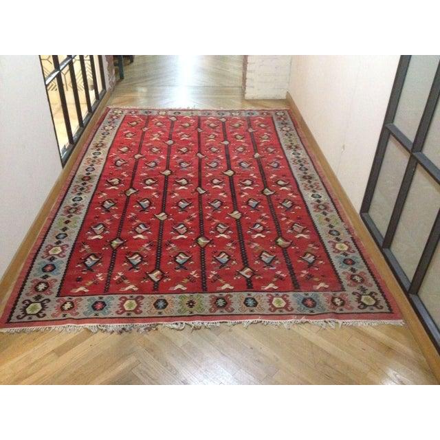 Red bird fish area rug 10 39 x 6 39 chairish for Fish area rug