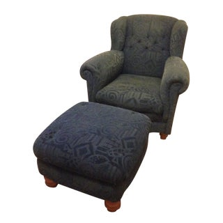 Roche Bobois Winged Chair & Chester Ottoman