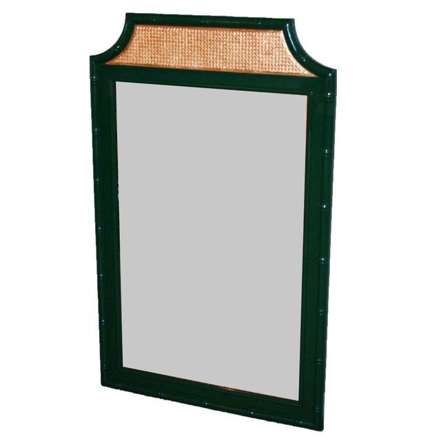 Vintage Green & Gold Faux-Bamboo Mirror - Image 3 of 5