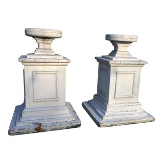 Distressed Vintage Wooden Pedestals - A Pair