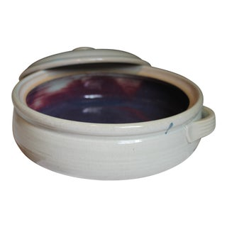 Off-White & Eggplant Casserole Dish