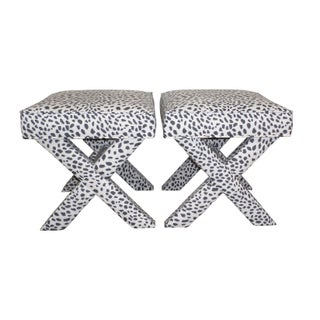 Charcoal & White Leopard Print X Benches - A Pair