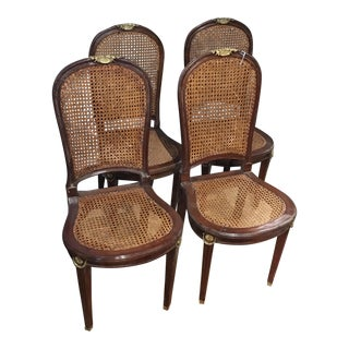 Distressed French Inlaid Caneback Chairs - Set of 4