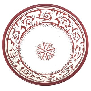 Moroccan Hand-Painted Large Red Ceramic Bowl