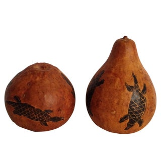 Gourds With Carved Lizards - Pair
