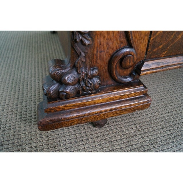 Image of Antique Oak & Leather Carved Griffin Sofa