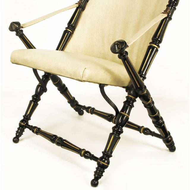 English Style Black Lacquer and Parcel-Gilt Folding Campaign Chair - Image 6 of 9