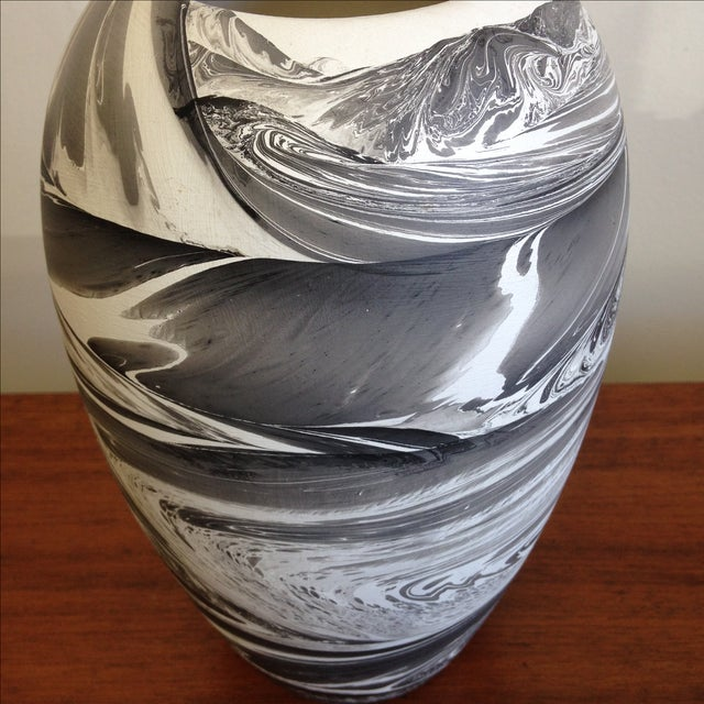 Hand Painted Marbelized Ceramic Vessel - Image 4 of 6