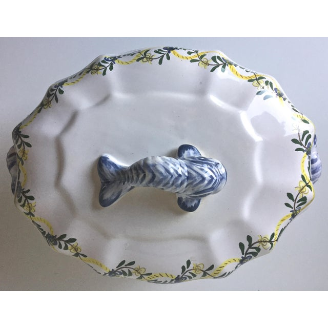 Vintage Faience Dolphin Handle Tureen - Image 3 of 7