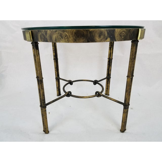 Round Regency-Style Faux Bamboo Table - Image 3 of 5