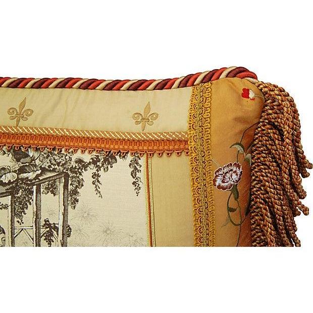 Designer Brunschwig Fils Toile Silk Accent Pillow - Image 4 of 5
