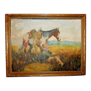 1932 Cowboy & Horse Pastel Painting