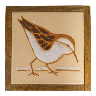 Vintage Rustic Cottage Wood Tile Bird Artwork