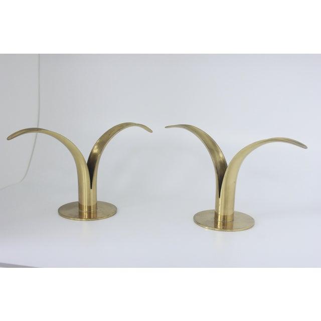 Image of Ystad Metall Swedish Brass Candlesticks- A Pair