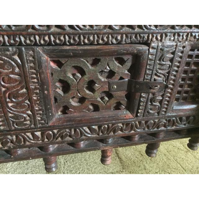 Antique Indian Wood Carved Sideboard - Image 5 of 10