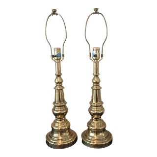 Stiffel Automax Vintage Brass Table Lamps - A Pair