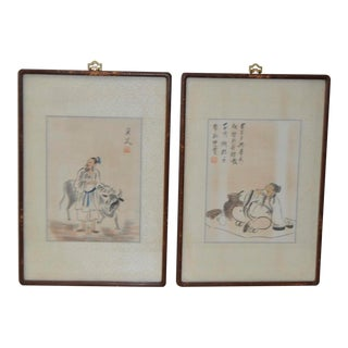 Vintage Chinese Paintings on Silk - A Pair