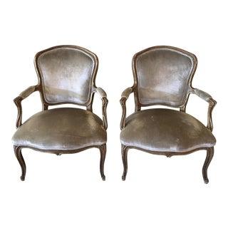 Antique Louis XV Style Arm Chairs- A Pair
