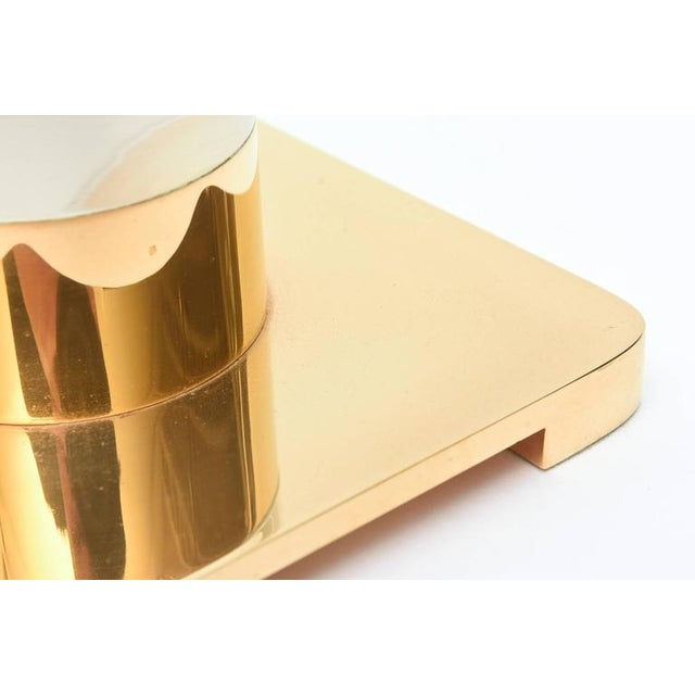 Column Clear Lucite and Gold-Plated Brass Table or Desk Lamp - Image 8 of 8