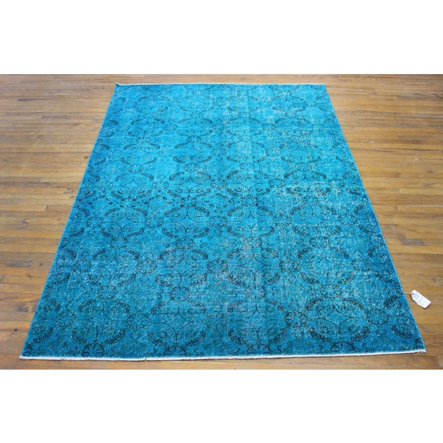 "Vintage Over-Dyed Blue Turkish Rug - 6'4"" X 9'2"" - Image 7 of 8"