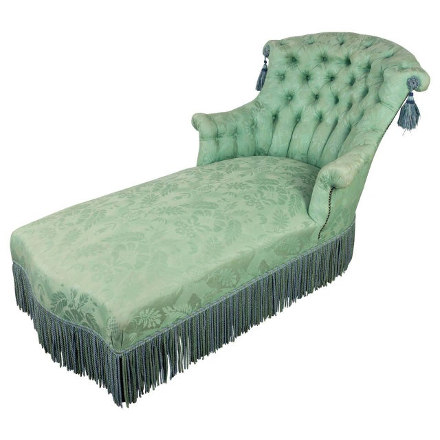 19th c french damask chaise lounge chairish for Black damask chaise longue