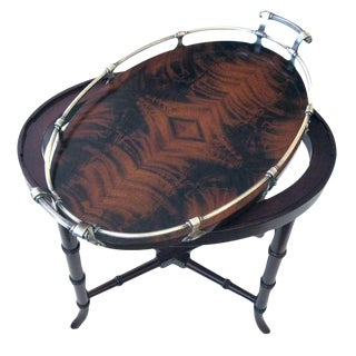 A Richly-Patinated English Crotch Mahogany Oval Tray with Pewter Gallery Raised on a Later Stand