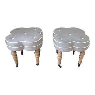 Gray Suede Ottomans - A Pair