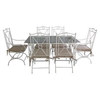 Handmade White Wrought Iron Patio Dining Set