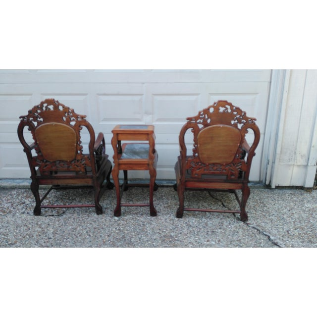 Chinese Carved Solid Rosewood Marble Back Armchairs - a Pair - Image 6 of 9