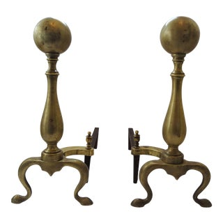 Vintage Brass Cannon Ball Andirons - A Pair