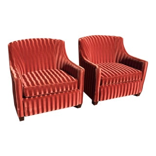 Red Candy Stripe Club Chairs - A Pair