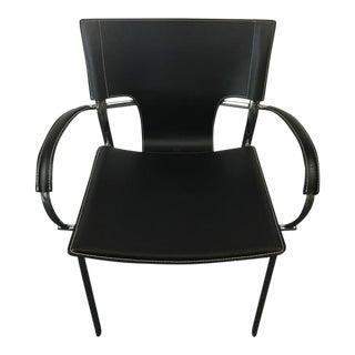 Contemporary Black Leather & Chrome Black Armchair