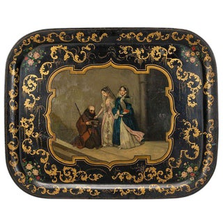 Napoleon III Hand Painted Central Scene Tole Tray